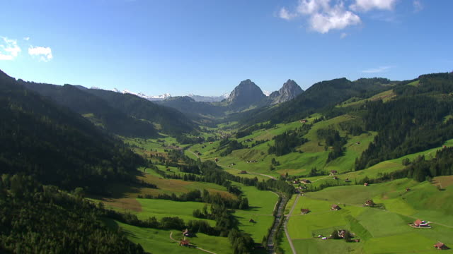 WS AERIAL View of Alptal Valley / Alptal, Schwyz, Switzerland
