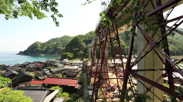ws tu view of amarube viaduct railway bridge / mikata district, kami, hyogo prefecture, japan  - railway bridge stock videos & royalty-free footage