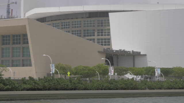 View of American Airline Arena from Museum Park, Downtown, Miami, Florida, United States of America, North America