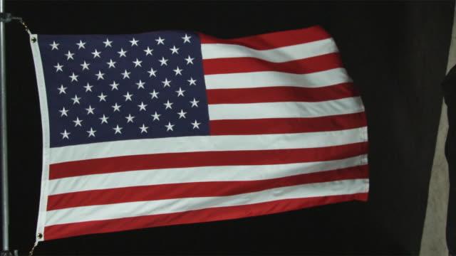cu slo mo view of american flag / orem, utah, usa - orem video stock e b–roll
