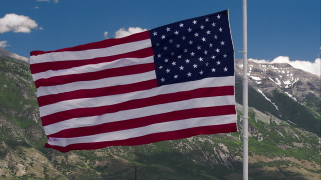 View of American Flag shot from drone