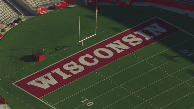 WS AERIAL POV View of American football pitch in Camp Randall Stadium / Madison, Wisconsin, United States