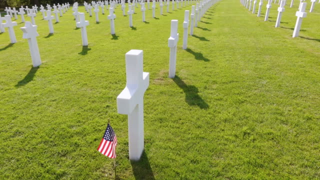 ms ha view of american war cemetery site and country flag / sandweiler, luxembourg - place concerning death stock videos & royalty-free footage