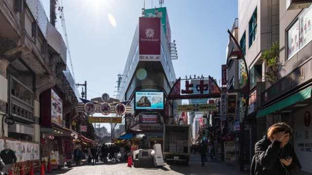 T/L POV WS ZO View of Ameya-Yokocho Street at Tokyo, Japan