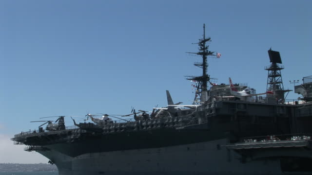 View of an aircraft carrier USS Midway in San Diego United States