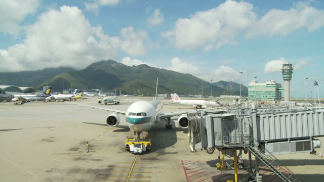 view of an airport in hong kong, china - lockdown viewpoint stock videos & royalty-free footage