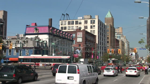 view of an intersection in ontario toronto canada - pavement stock videos & royalty-free footage
