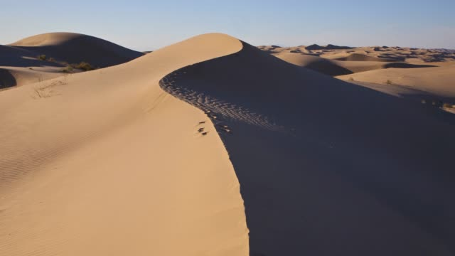 vidéos et rushes de view of an invisible being walking towards camera on the sand dune. - invisible