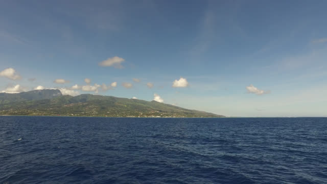 view of an island from the sea - tahitian culture stock videos and b-roll footage