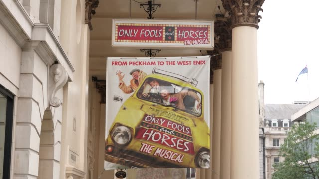 view of an only fools and horses: the musical poster outside theatre royal haymarket, in london, united kingdom on september 3 in london, england. - theatre royal haymarket stock videos & royalty-free footage