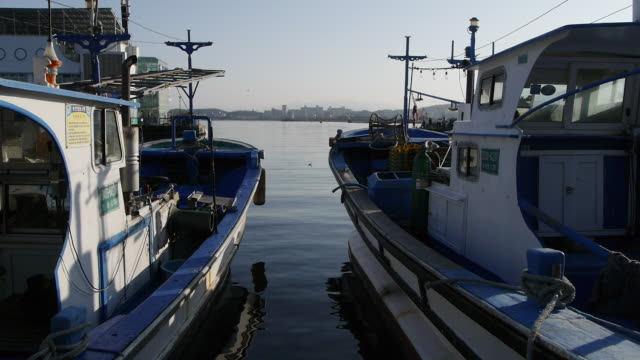 view of anchored fishing boat in dongmyeong-port - anchored stock videos & royalty-free footage