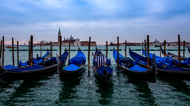view of anchoring gondola (passenger craft) at venice - passenger craft stock videos & royalty-free footage