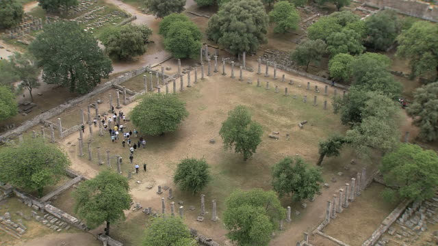 ws aerial ds view of ancient site olympia / olympia, ionian islands, greece  - antico condizione video stock e b–roll