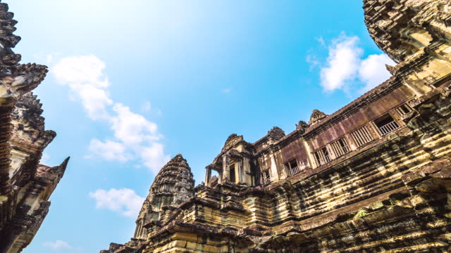MS TS POV T/L View of ancient Temple top in Angkor Wat / Angkor, Siem Reap, Province Colombia