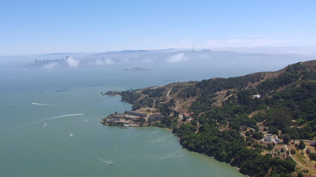 WS AERIAL POV View of Angel Island and fort at San Francisco Bay / California, United States
