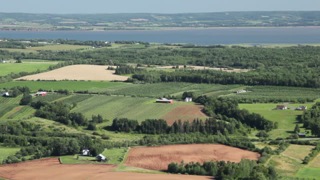 ws view of annapolis valley / wolfville, nova scotia, canada - valley stock videos & royalty-free footage