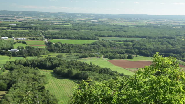 ws pan view of annapolis valley / wolfville, nova scotia, canada - valley stock videos & royalty-free footage