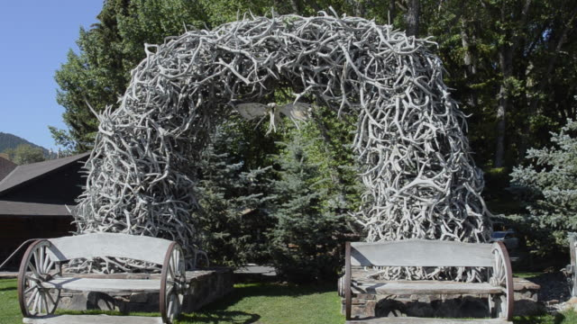 MS View of antlers archway in national park / Jackson Hole, Wyoming, United States