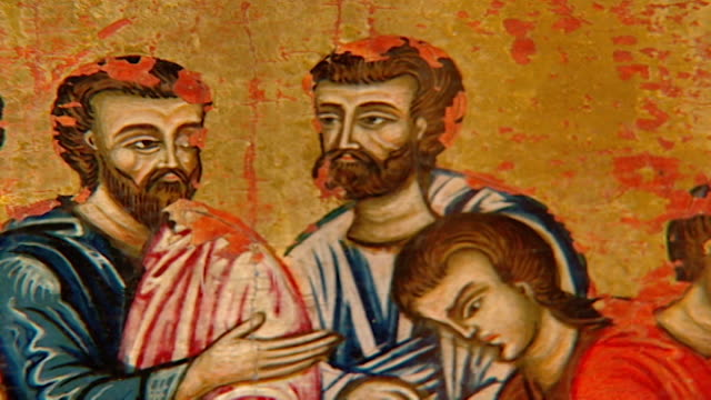 view of apostles at the last supper from an icon in the saint sergius and saint bacchus church. the church suffered extreme damage during the battle... - 使徒点の映像素材/bロール
