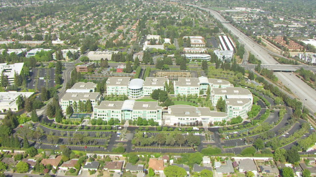 WS PAN AERIAL POV View of Apple Headquarters / Cupertino, California, United States