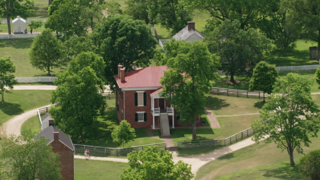 WS AERIAL POV View of Appomattox Court House National Historical Park with courthouse / Appomattox, Virginia, United States