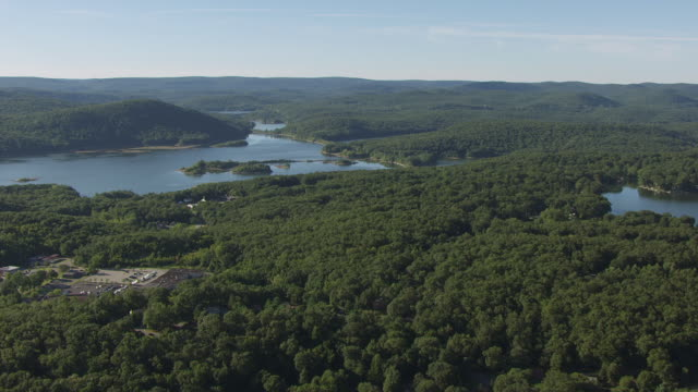 WS AERIAL View of approach Monksville reservoir in Long Pond Ironworks state park / New Jersey, United States
