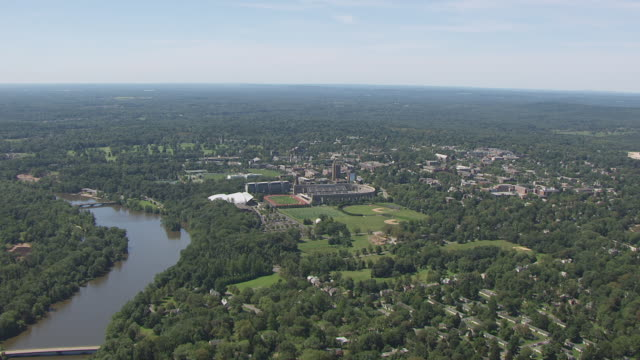 ws aerial view of approach to princeton university stadium at princeton university / princeton, new jersey, united states - ivy league university stock videos and b-roll footage