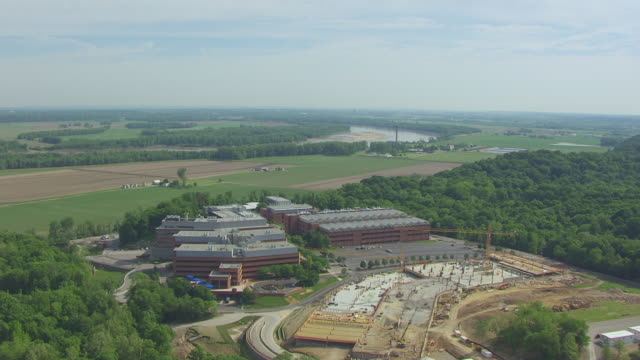 WS AERIAL TS View of Approaching Chesterfield Village Research Center with surrounding area / St Louis, Missouri, United States