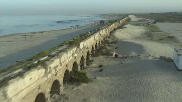 WS POV View of aqueduct ancient Caesarea / Caesarea, Israel