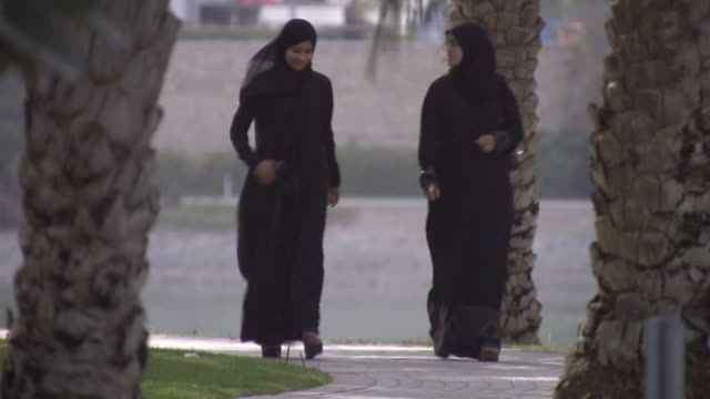 ws view of arabian women walking / dubai city, dubai, saudi arabia - solo donne video stock e b–roll