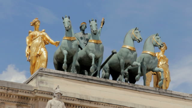 ms view of arc de triomphe du carrousel  and horses in tuileries garden  /  paris city, paris, france - female likeness stock videos & royalty-free footage