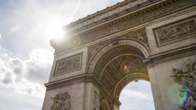 vidéos et rushes de vue de l'arc de triomphe, un des plus célèbres monuments de paris - mémorial