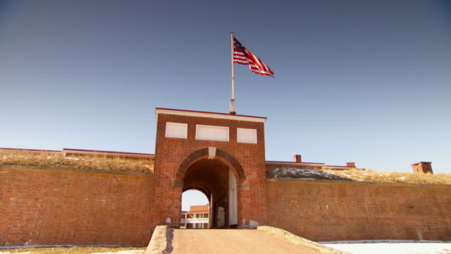 ws view of archway entrance at fort mchenry / baltimore, maryland, united states  - barracks stock videos & royalty-free footage
