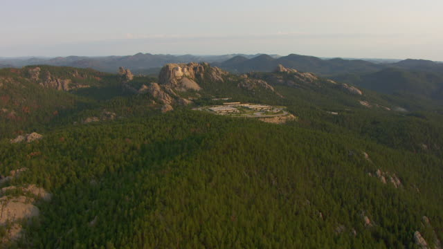 WS AERIAL View of area around Mount Rushmore in Pennington County / South Dakota, United States