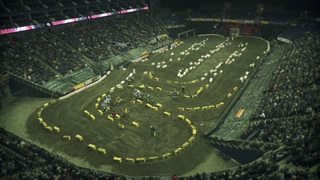WS View of Arena and race track for off road super cross motorbike race / London, UK