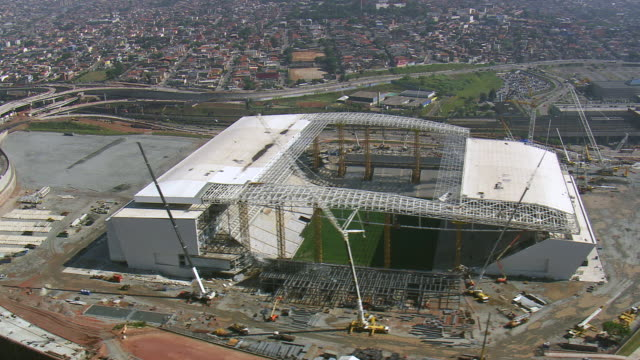 WS AERIAL TS View of Arena corinthians stadium / Sao Paulo, Brazil