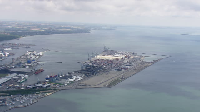 WS AERIAL ZI ZO PAN View of Arhus Docks / Arhus, Denmark