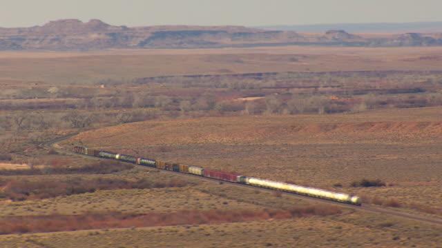WS AERIAL DS TS View of Arizona railway moving through desert / Arizona, United States