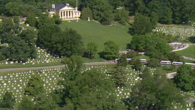 WS AERIAL View of Arlington House and Cemetery / Washington, Dist. of Columbia, United States