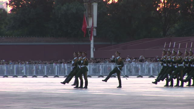 view of army parade in tiananmen square in beijing china - tiananmen square stock videos and b-roll footage