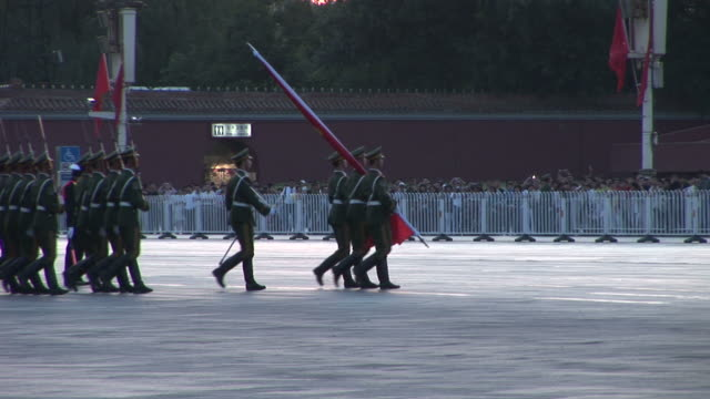 view of army parade in tiananmen square in beijing china - chinese culture stock videos & royalty-free footage