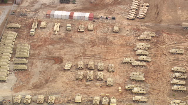 ms aerial view of army tanks at fort benning / georgia, united states - fort benning video stock e b–roll