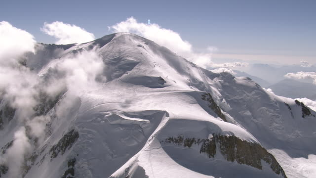 WS AERIAL View of around Mont Blanc with mountaineers on top