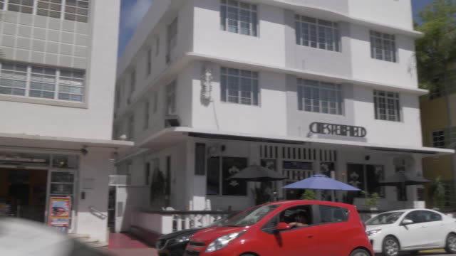 view of art deco architecture on collins avenue, south beach, miami, florida, united states of america, north america - miami beach stock videos & royalty-free footage