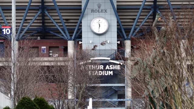 view of arthur ashe stadium, in new york city amid the coronavirus lockdown in new york, on march 31, 2020. - flushing meadows corona park stock videos & royalty-free footage