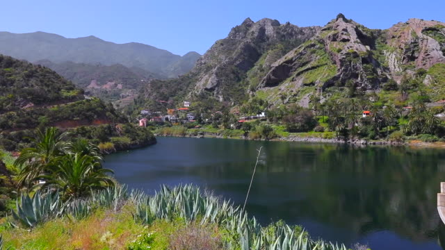 View of artificial lake ' La Encantadora ' in Presa La Encantadora near by village Vallehermoso on Canary Islands La Gomera in the province of Santa Cruz de Tenerife - Spain