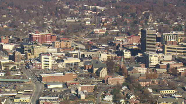 WS AERIAL View of Asheville / North Carolina, United States