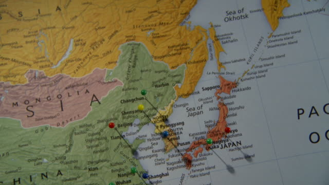 Cu pan view of asia in world map with push pins in major cities cu pan view of asia in world map with push pins in major cities atlanta georgia usa stock footage video getty images gumiabroncs