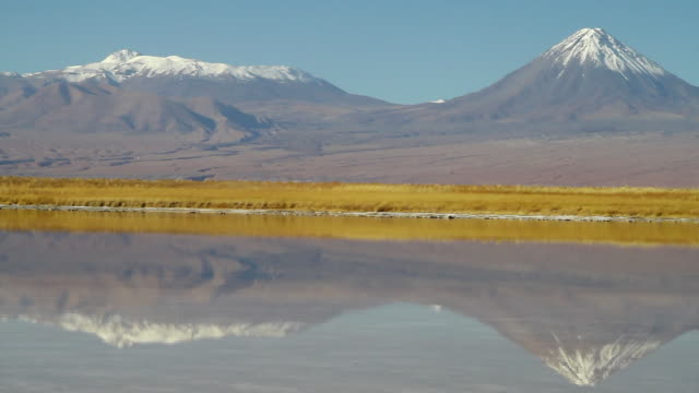 vídeos de stock e filmes b-roll de ws pan view of atacama desert with mountains mirrored in lake in foreground / angostura, chile - wiese