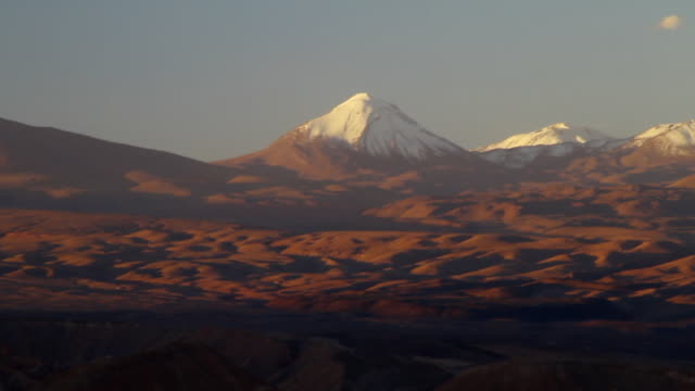 WS T/L View of Atacama mountains at sunset / Angostura, Chile
